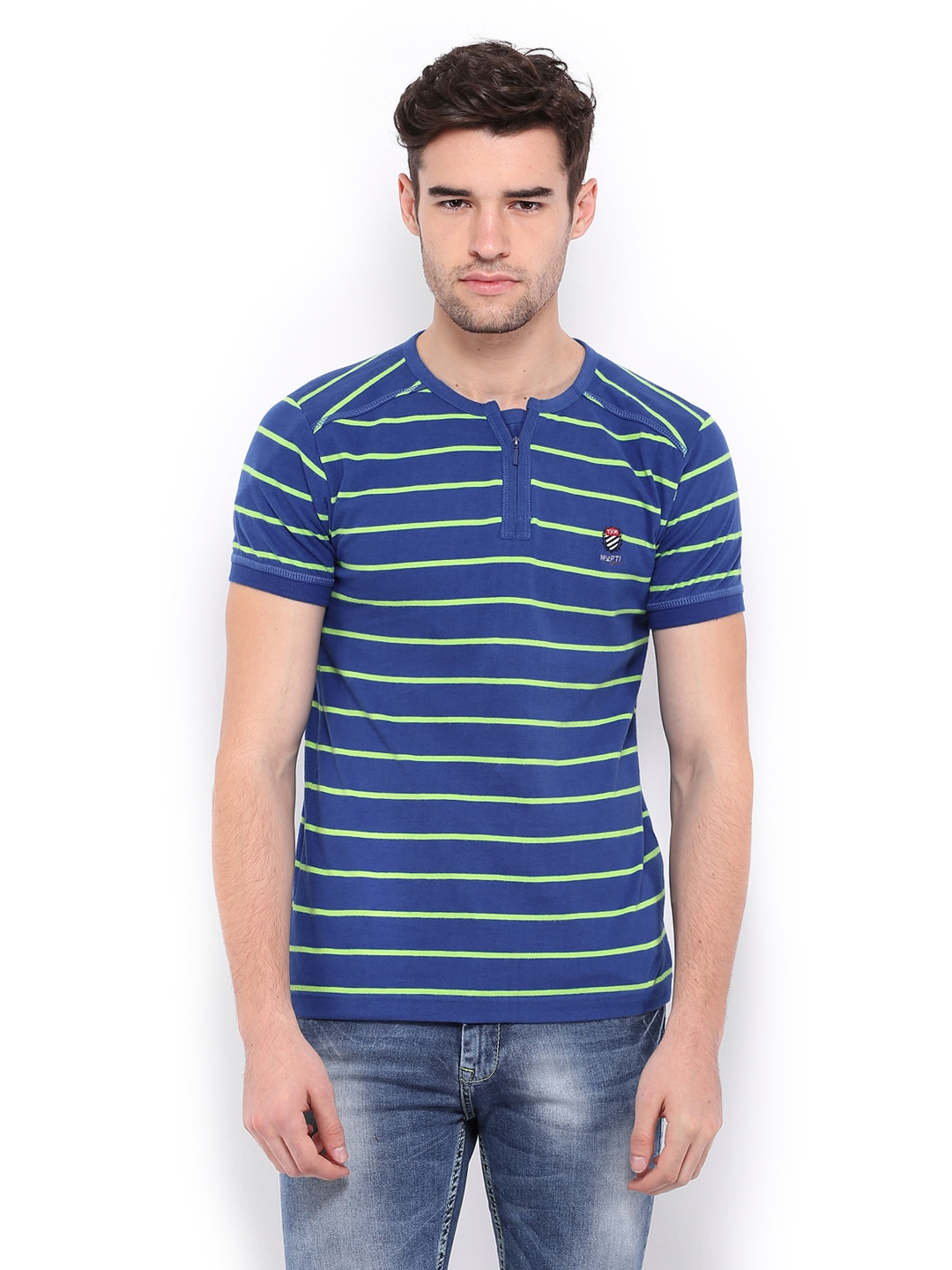 1b20281151d Buy Mufti Men Blue   Green Striped T-shirt (multicolor) 1365678 for ...