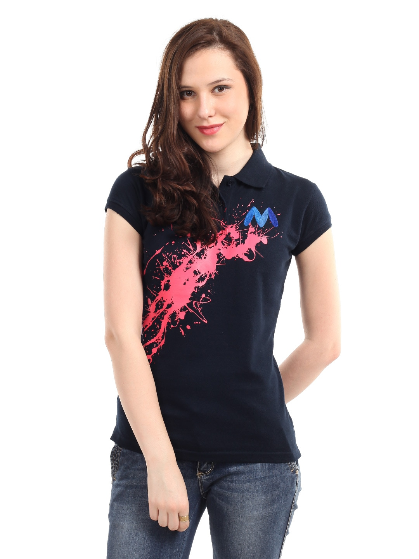 Buy Myntra Women Navy Blue Polo T Shirt Tshirts For