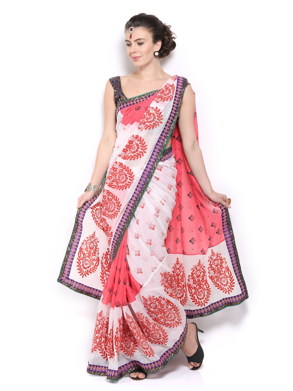 Mysilk Pink Embroidered Chiffon Fashion Saree (multicolor)