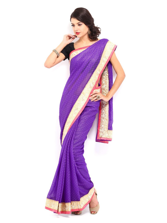 Mysilk Purple Chiffon Fashion Saree (multicolor)