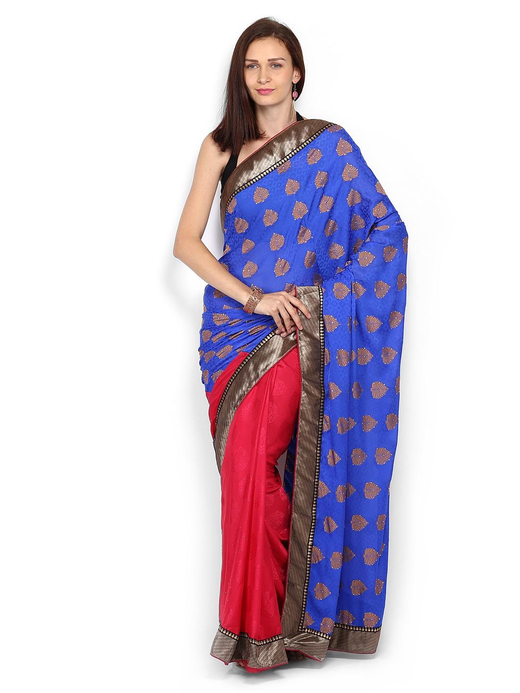 Mysilk Blue & Pink Jacquard Fashion Saree (multicolor)