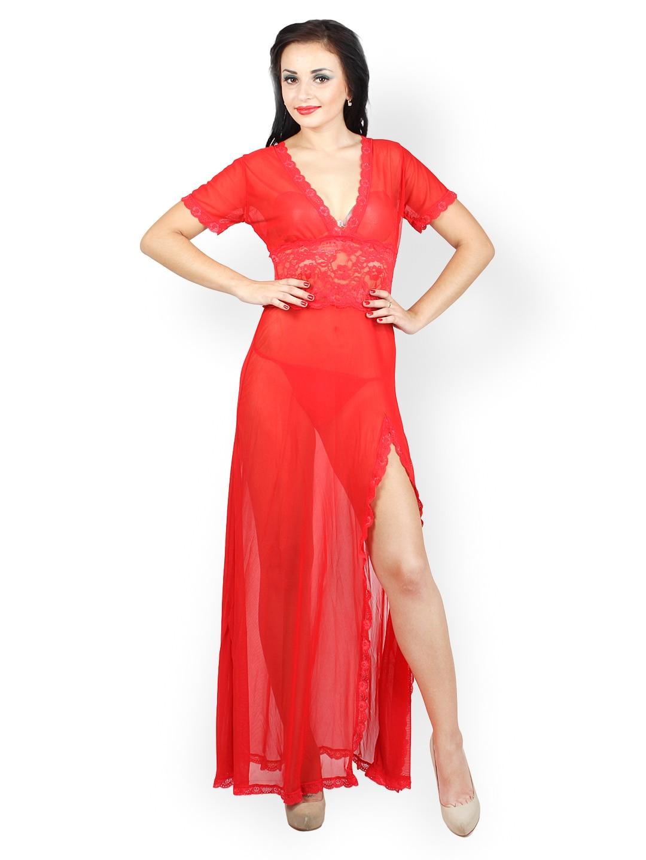 N-Gal Red Sheer Maxi Nightdress NG6366
