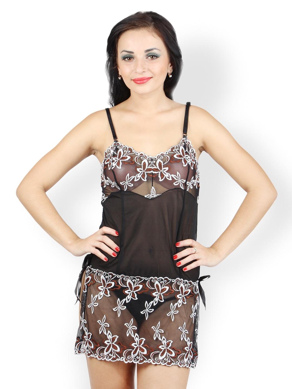 N-Gal Black Sheer Embroidered Babydoll Nightdress NG2234