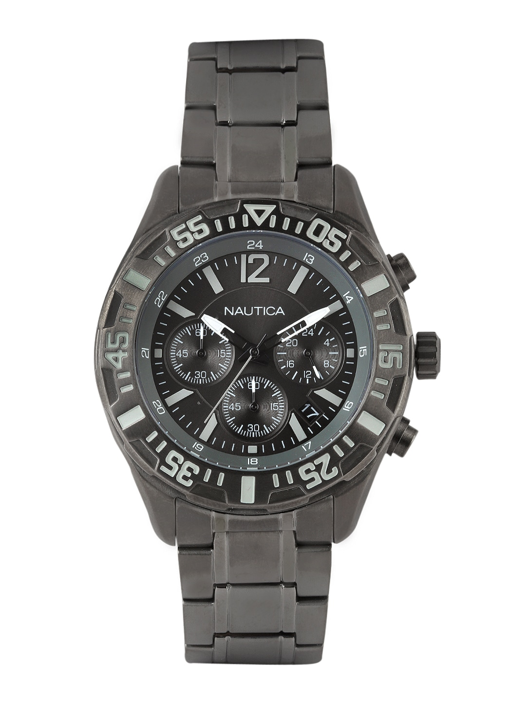 Nautica Nautica Men Gunmetal-Toned Dial Watch NTA22634G (Multicolor)