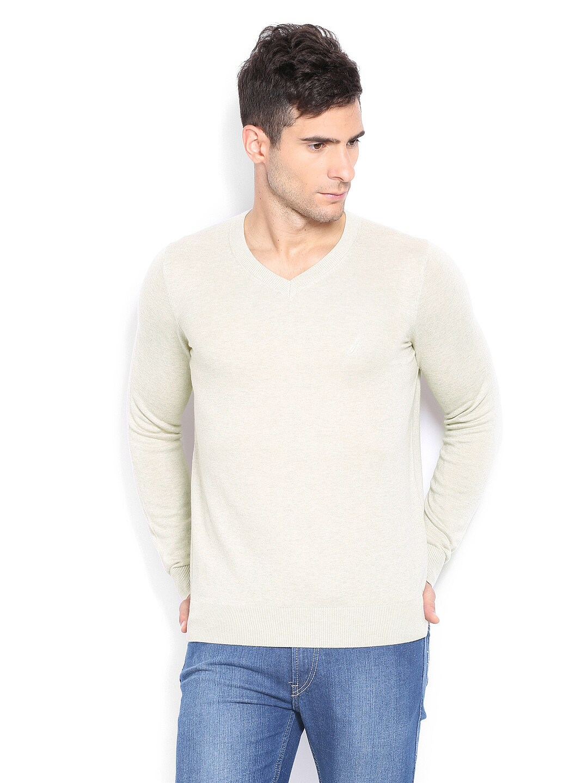 Nautica Men Beige Sweater