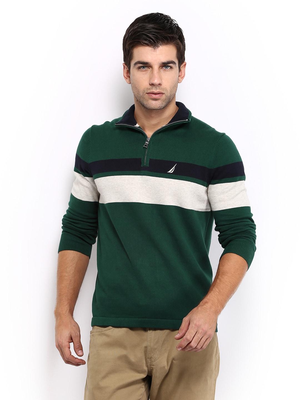 Nautica Men Green Striped Sweater