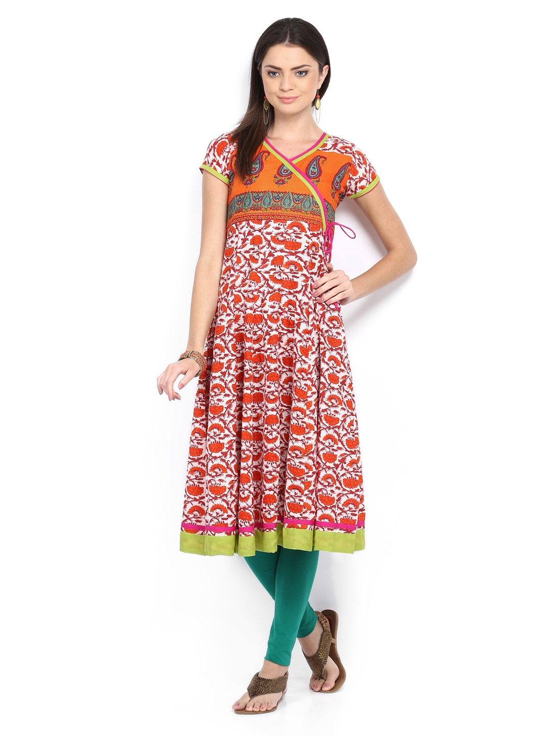 Neels Women Orange & White Printed Anarkali Kurta (multicolor)