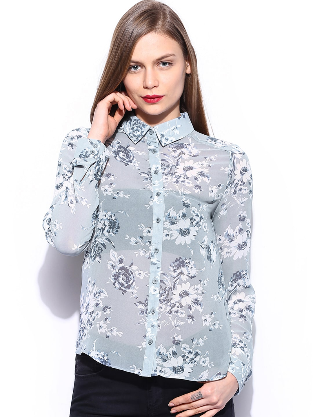 New Look Women Grey & Blue Floral Printed Shirt