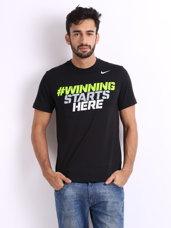 Nike men black printed t shirt for Printed t shirts india
