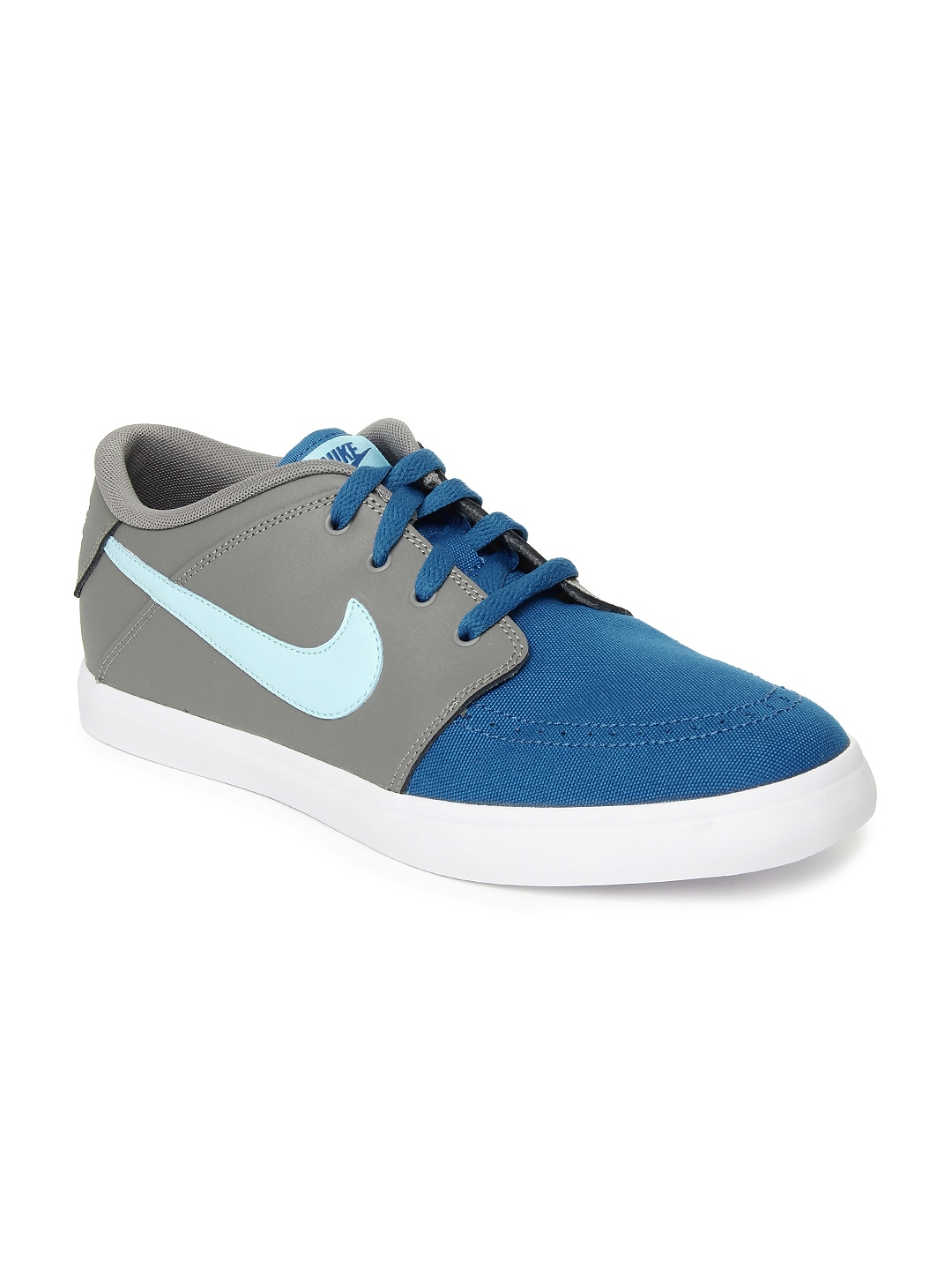 nike grey and blue suketo 2 leather casual shoes