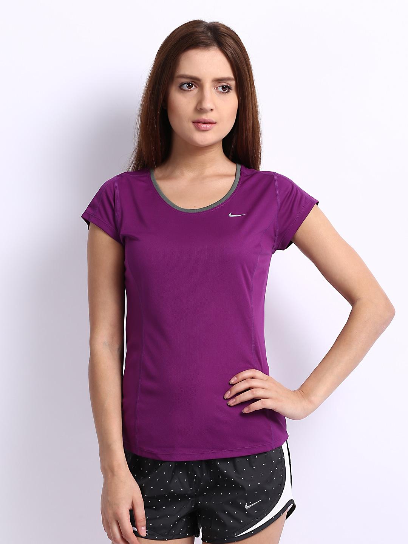 Nike women purple running t shirt for Nike t shirt price