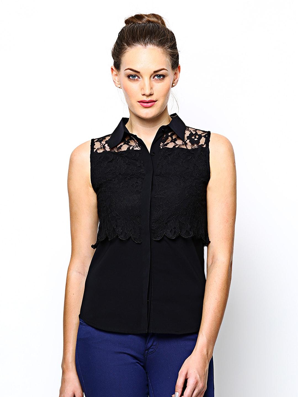 ONLY Women Black Lace Semiformal Shirt