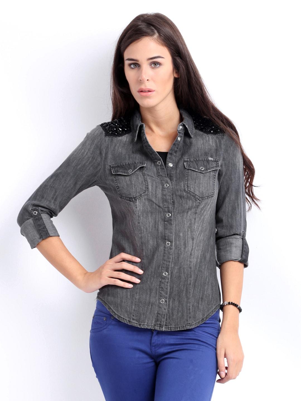 Buy only women grey denim shirt shirts for women myntra for Buy denim shirts online