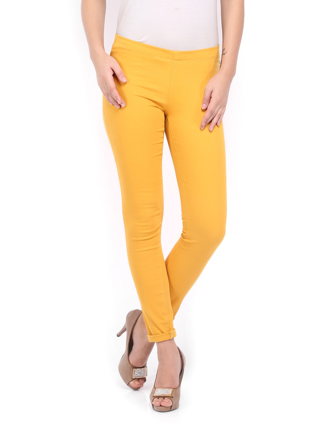 ONLY Women Mustard Yellow Jeggings