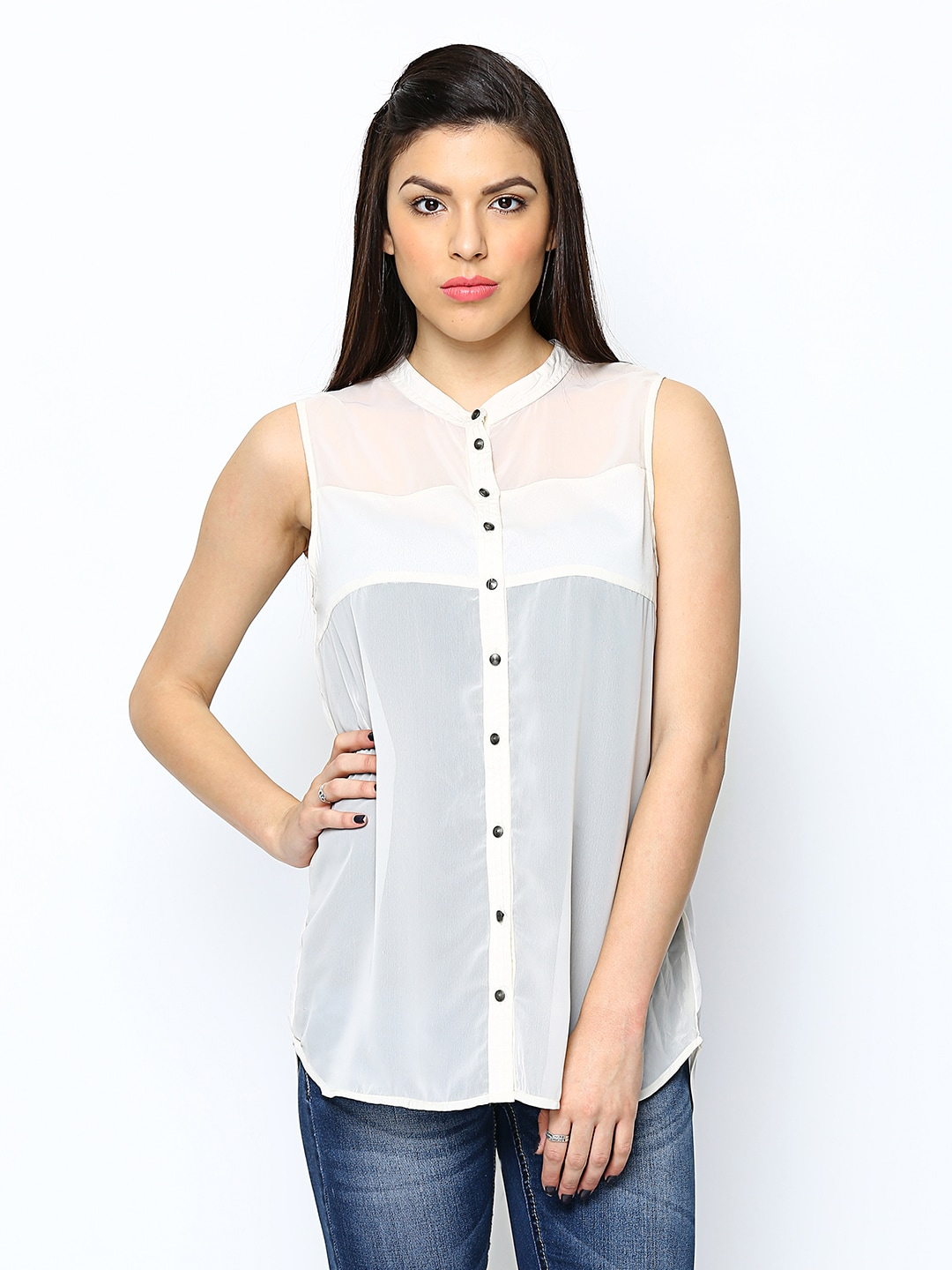 ONLY Women Off-White Sheer Casual Shirt