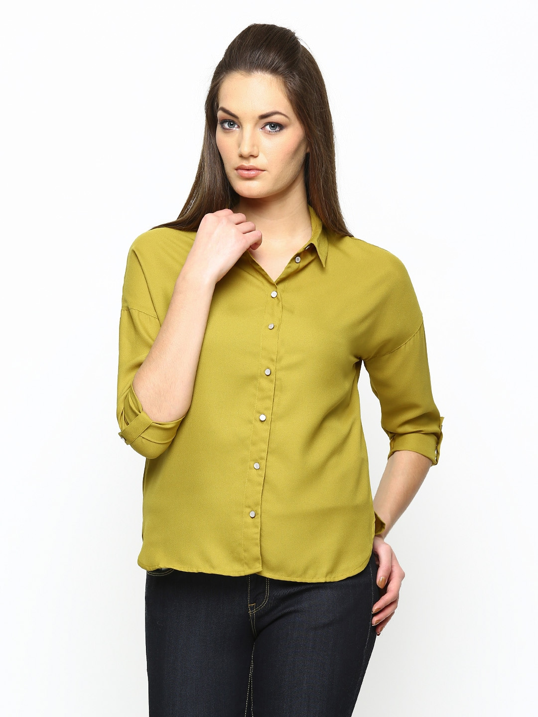 Mustard ONLY Women Mustard Yellow Casual Shirt