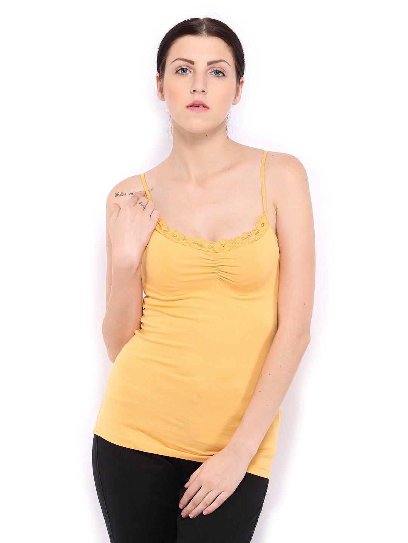 Mustard ONLY Women Mustard Yellow Spaghetti Top
