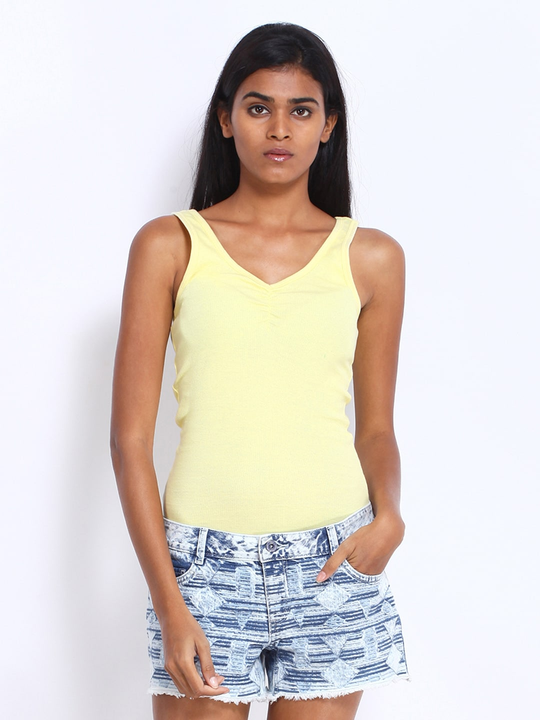 ONLY Women Yellow Tank Top