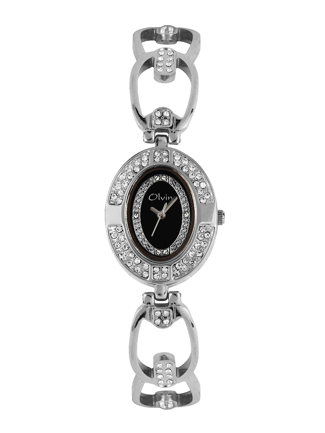 Olvin Women Black Dial Watch 16108 SM03