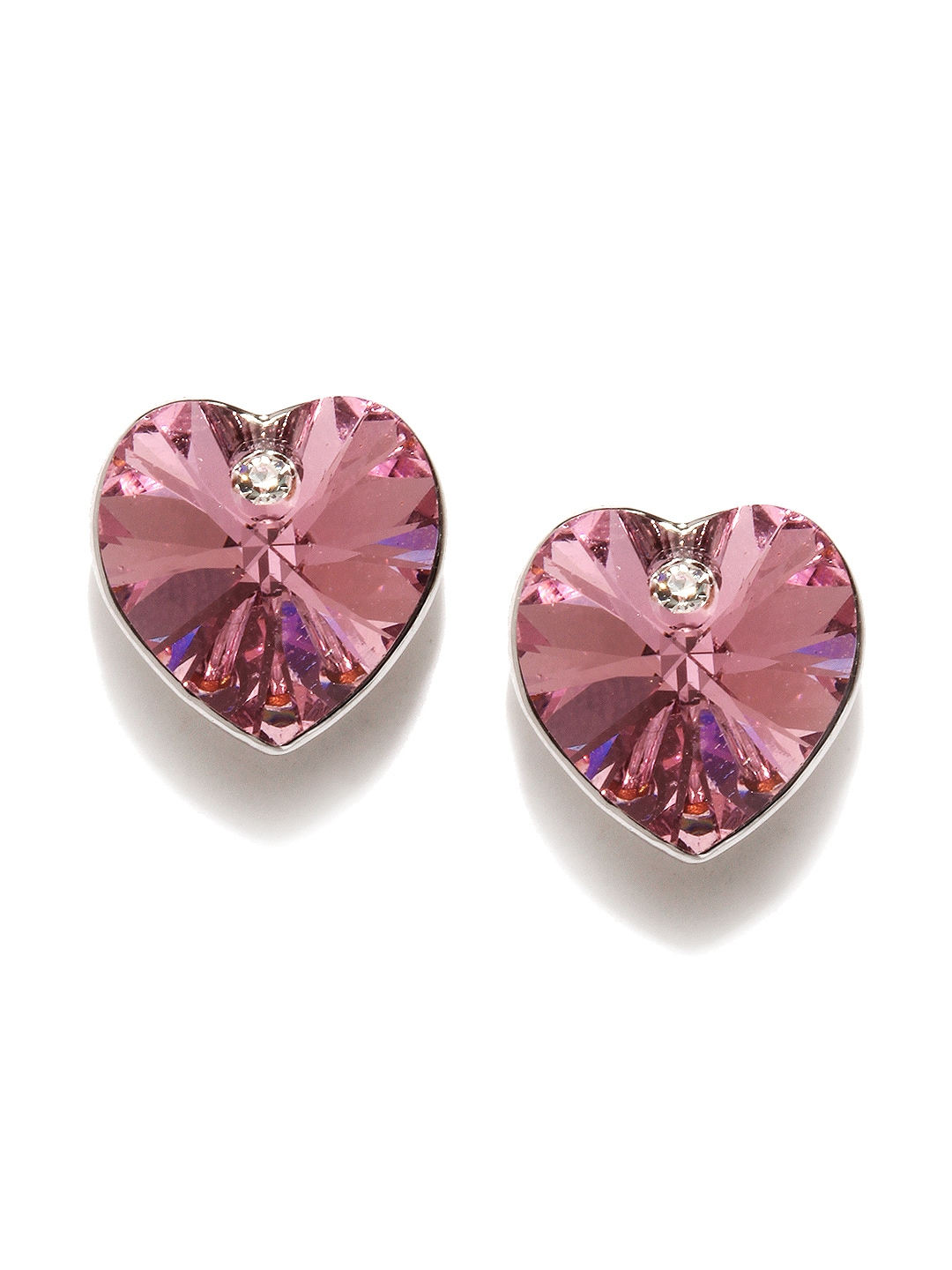 Ouxi SWAN By Ouxi Pink Heart-Shaped Stud Earrings With Swarovski Elements (Multicolor)