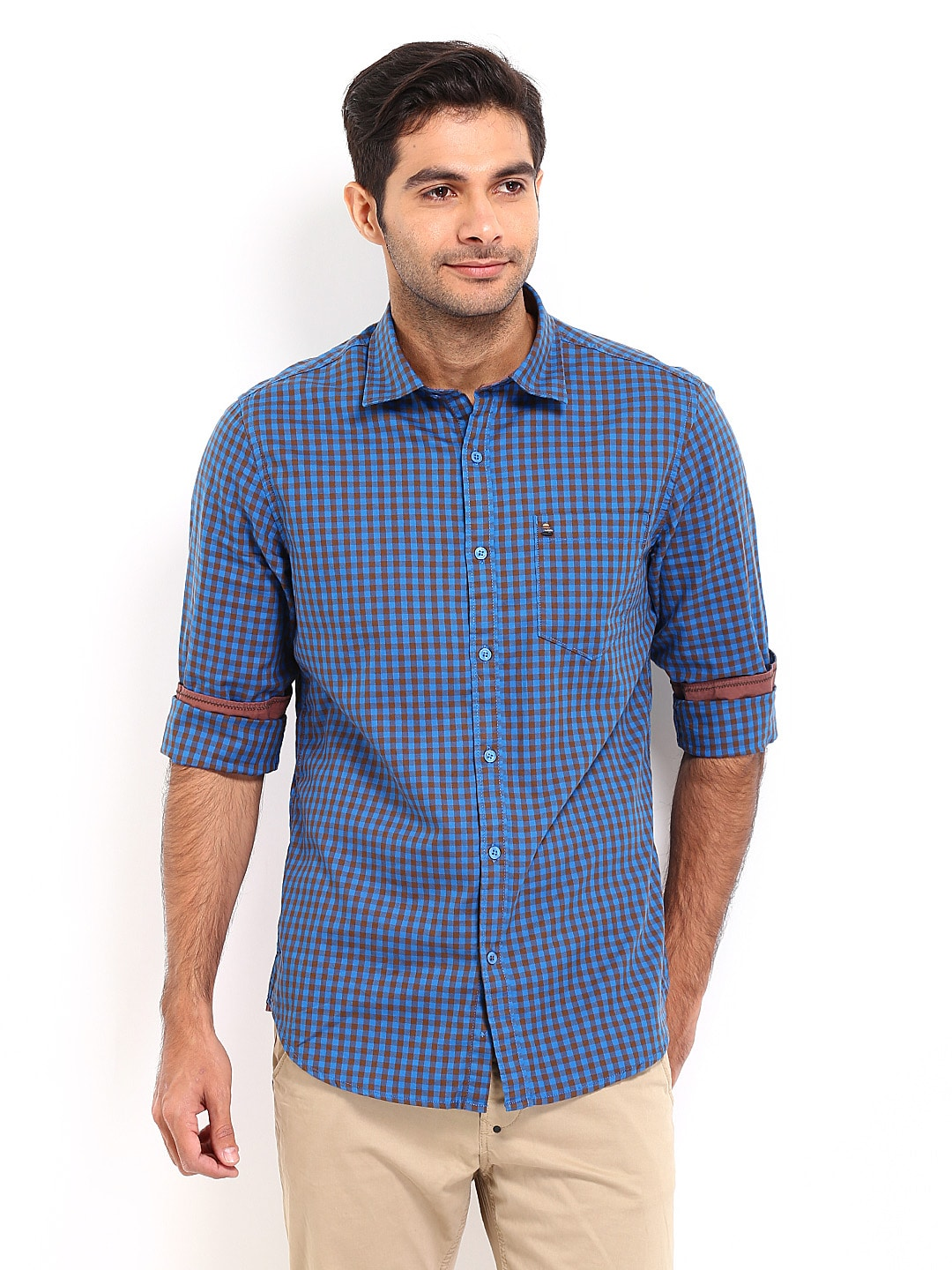 Oxemberg Oxemberg Men Blue & Brown Checked Slim Fit Casual Shirt (Multicolor)