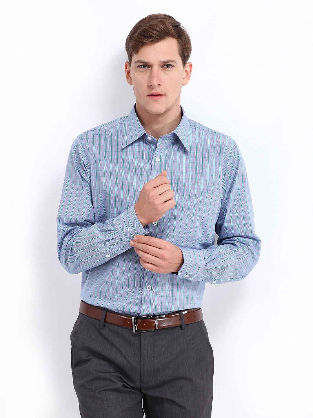 Oxemberg Oxemberg Men Blue & Green Checked Slim Fit Formal Shirt (Multicolor)