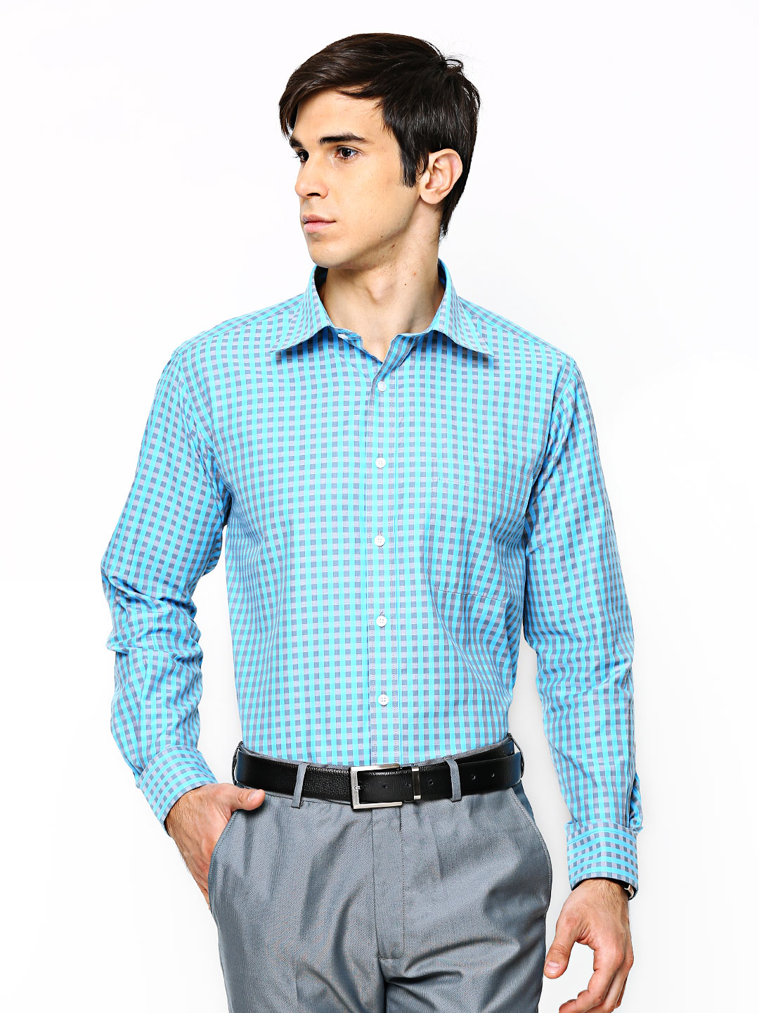 Oxemberg Oxemberg Men Blue & Grey Checked Formal Shirt (Multicolor)