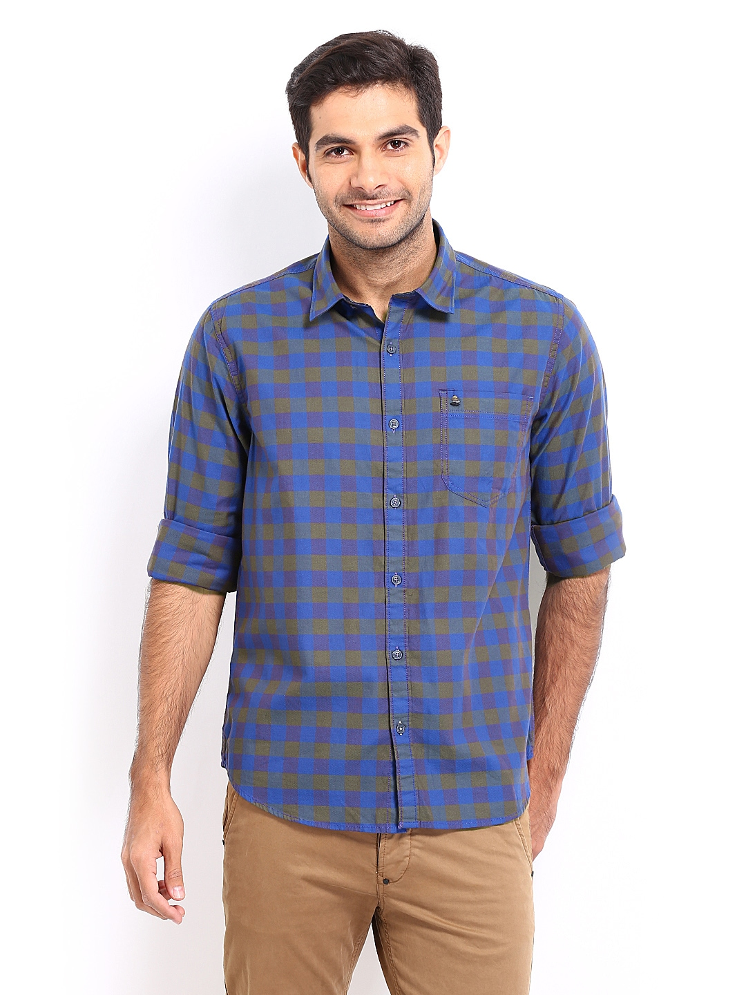 Oxemberg Oxemberg Men Blue & Olive Green Checked Slim Fit Casual Shirt (Multicolor)