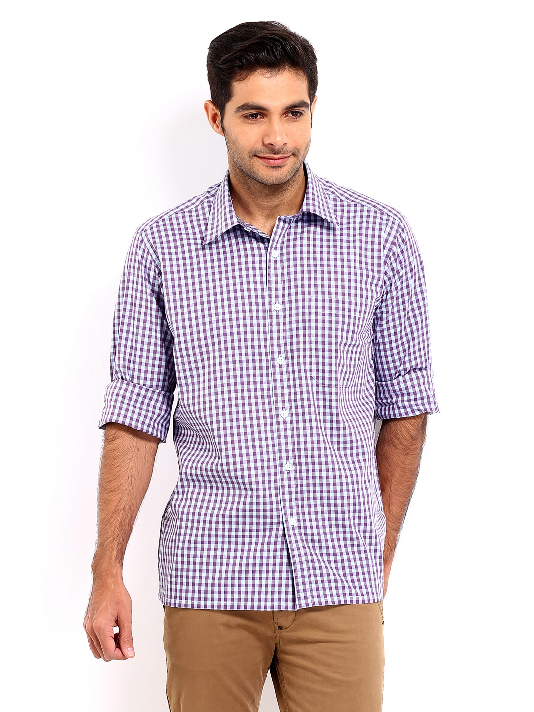 Oxemberg Oxemberg Men Blue & Purple Checked Slim Fit Casual Shirt (Multicolor)