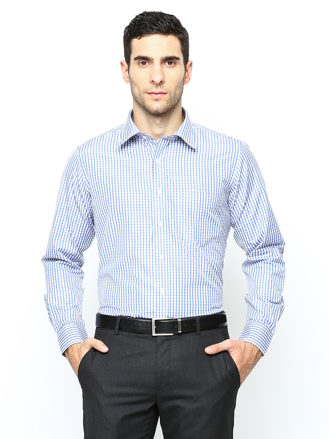 Oxemberg Oxemberg Men White & Blue Checked Slim Fit Formal Shirt (Multicolor)