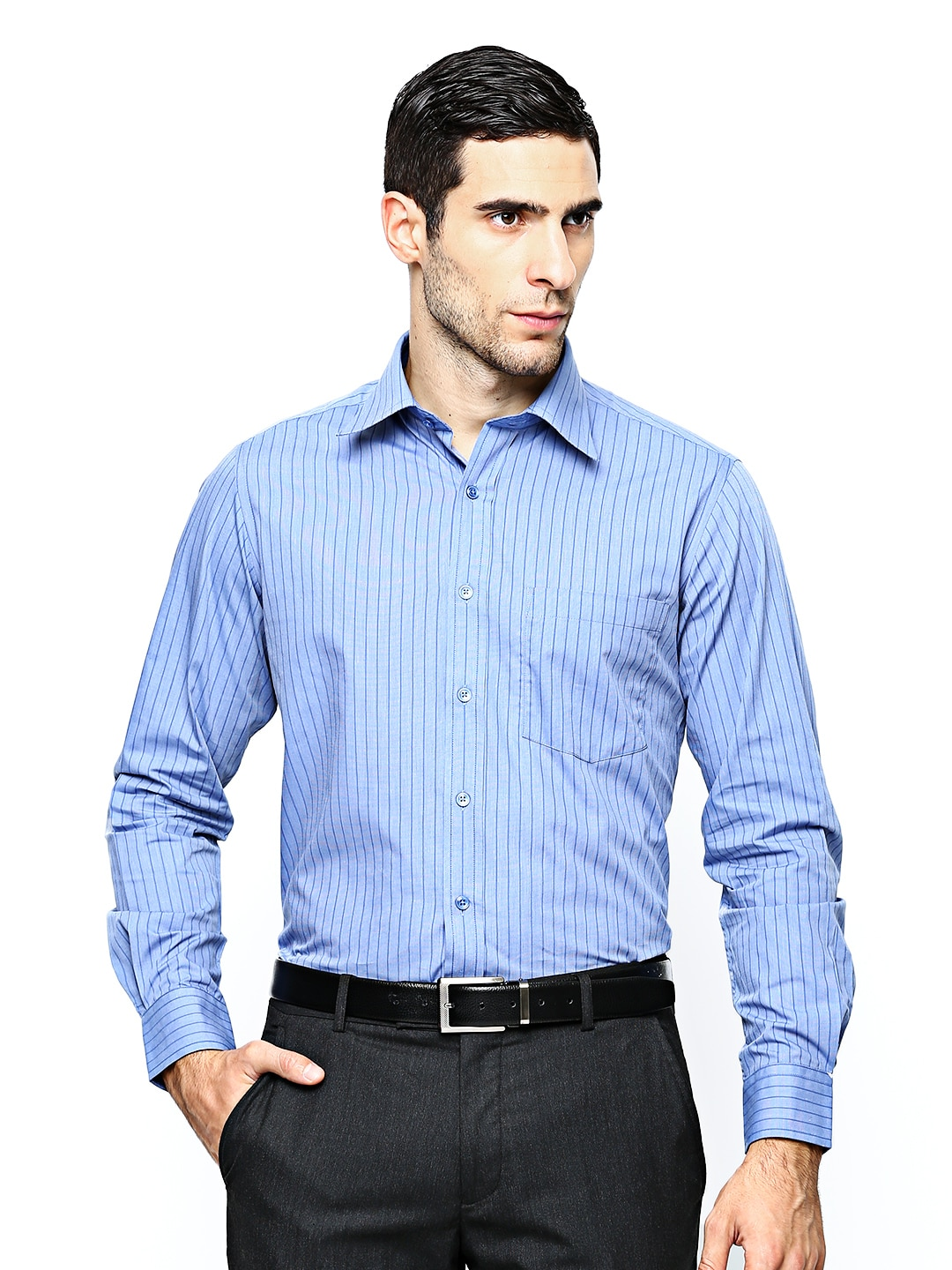 Oxemberg Oxemberg Men Blue Striped Slim Fit Formal Shirt