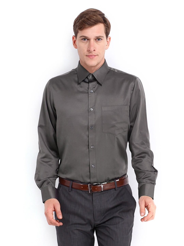 Oxemberg Oxemberg Men Dark Grey Slim Fit Formal Shirt (Multicolor)