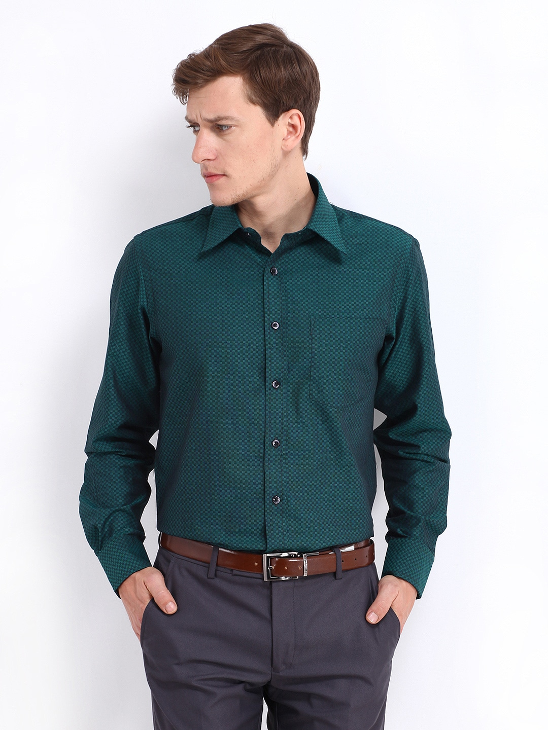 Oxemberg Oxemberg Men Teal Green Slim Fit Formal Shirt (Multicolor)