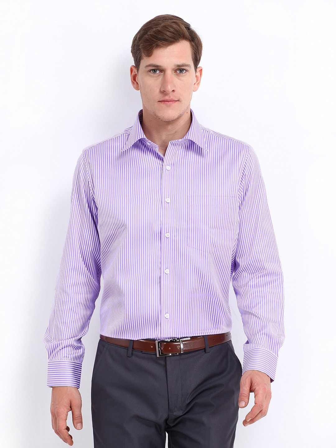 Oxemberg Oxemberg Men Lavender & White Striped Slim Fit Formal Shirt (Multicolor)