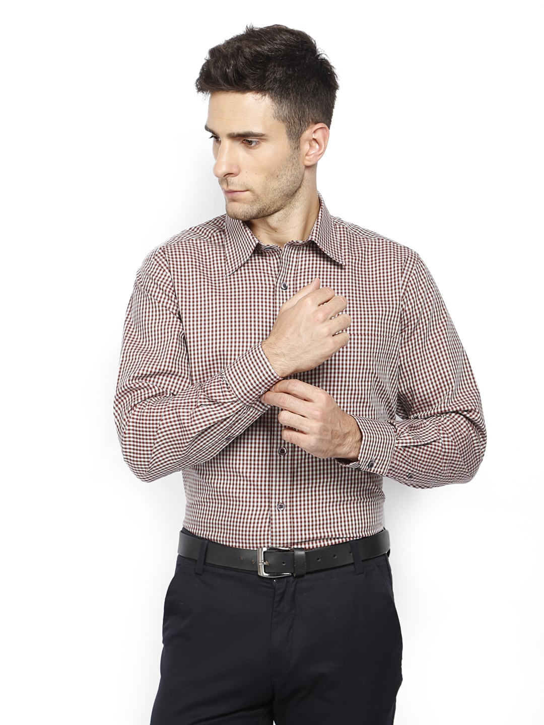 Oxemberg Oxemberg Men Brown Checked Slim Fit Formal Shirt