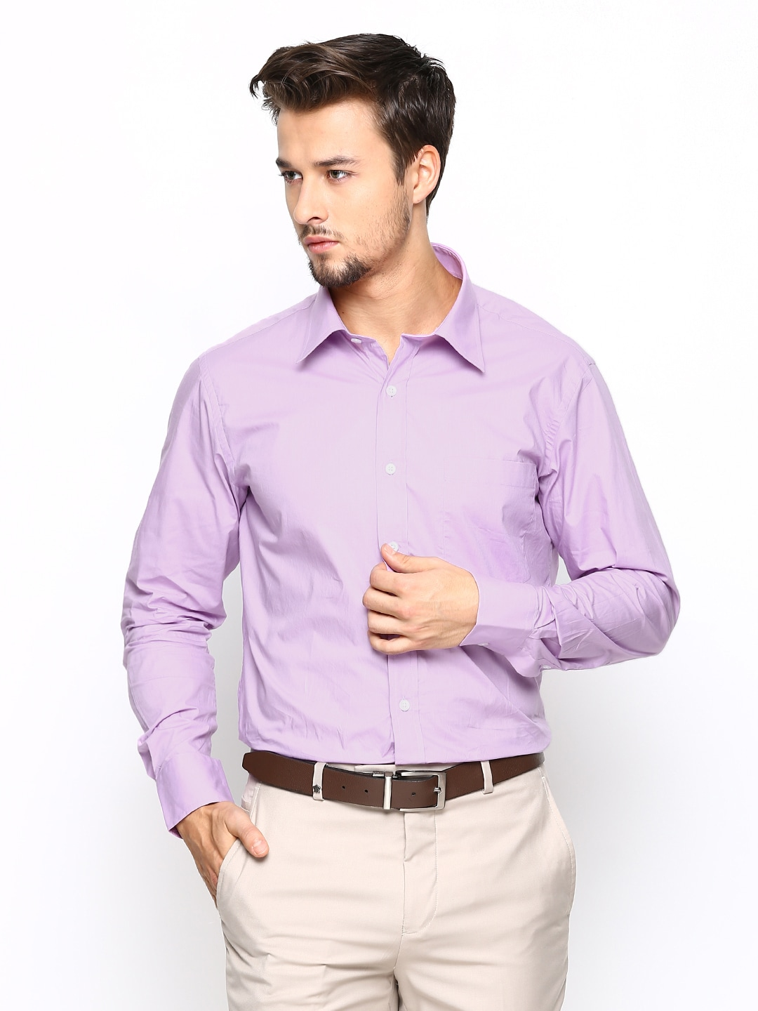Oxemberg Oxemberg Men Mauve Slim Fit Formal Shirt (Violet)