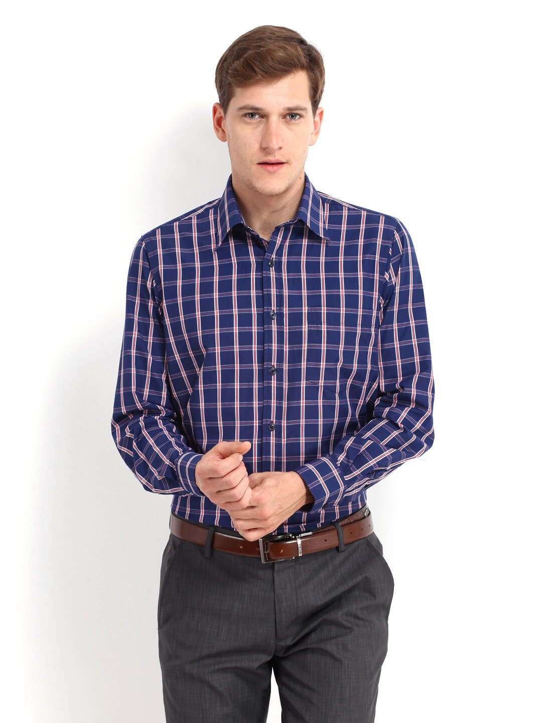 Oxemberg Oxemberg Men Navy & Red Checked Slim Fit Formal Shirt (Multicolor)