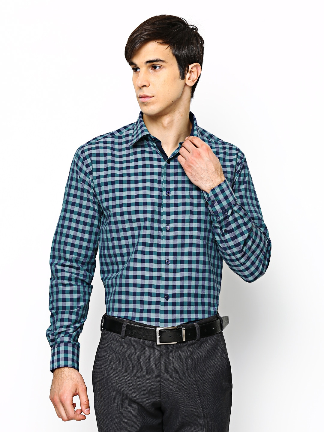 Oxemberg Oxemberg Men Navy & Teal Green Checked Formal Shirt (Multicolor)