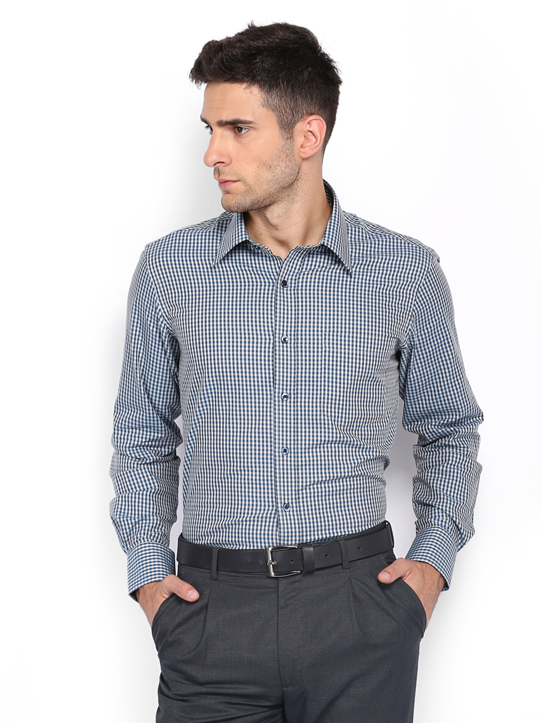 Oxemberg Oxemberg Men Off-White & Blue Checked Slim Fit Formal Shirt (Multicolor)