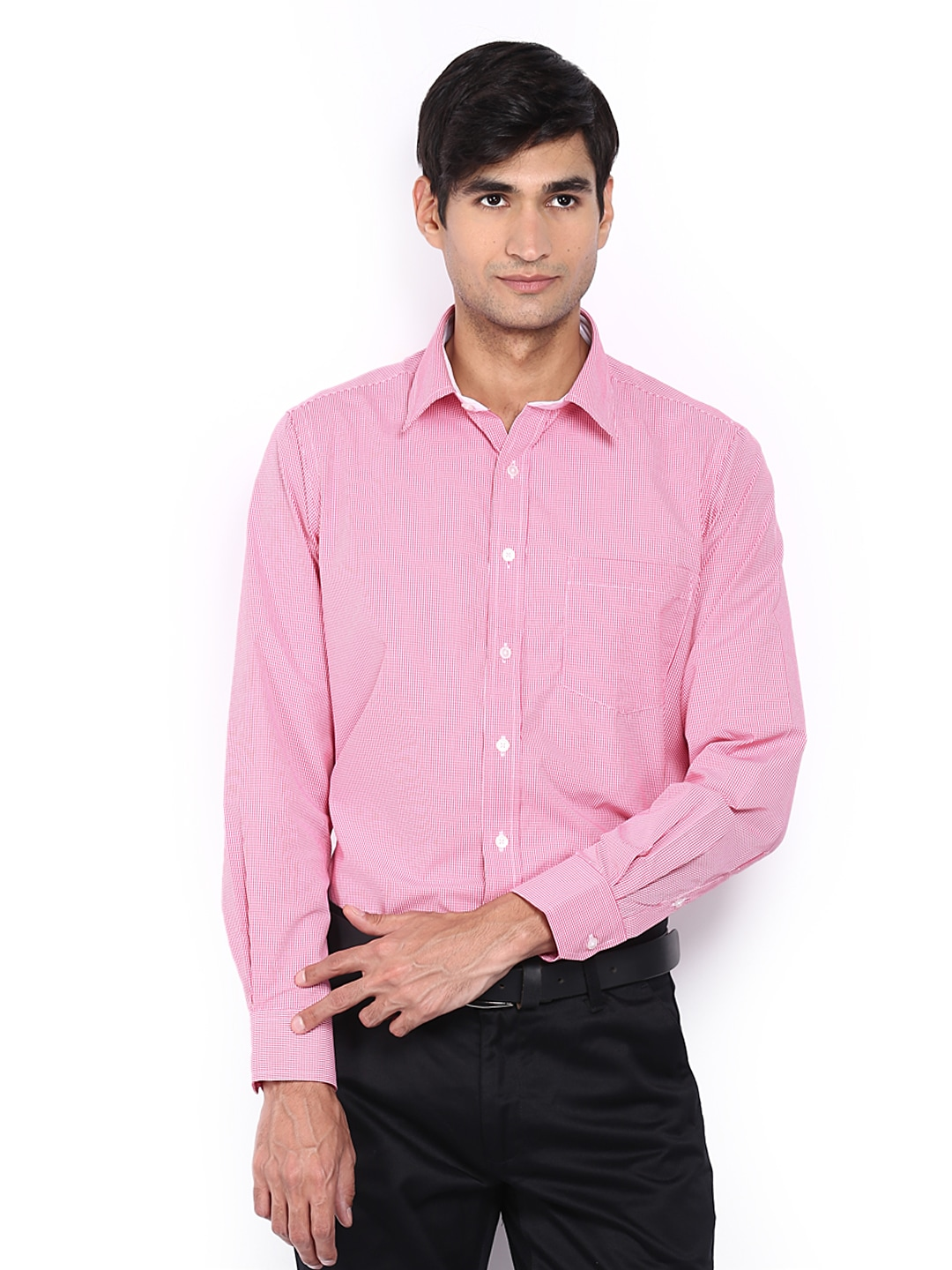 Oxemberg Oxemberg Men Pink & White Checked Slim Fit Formal Shirt (Multicolor)