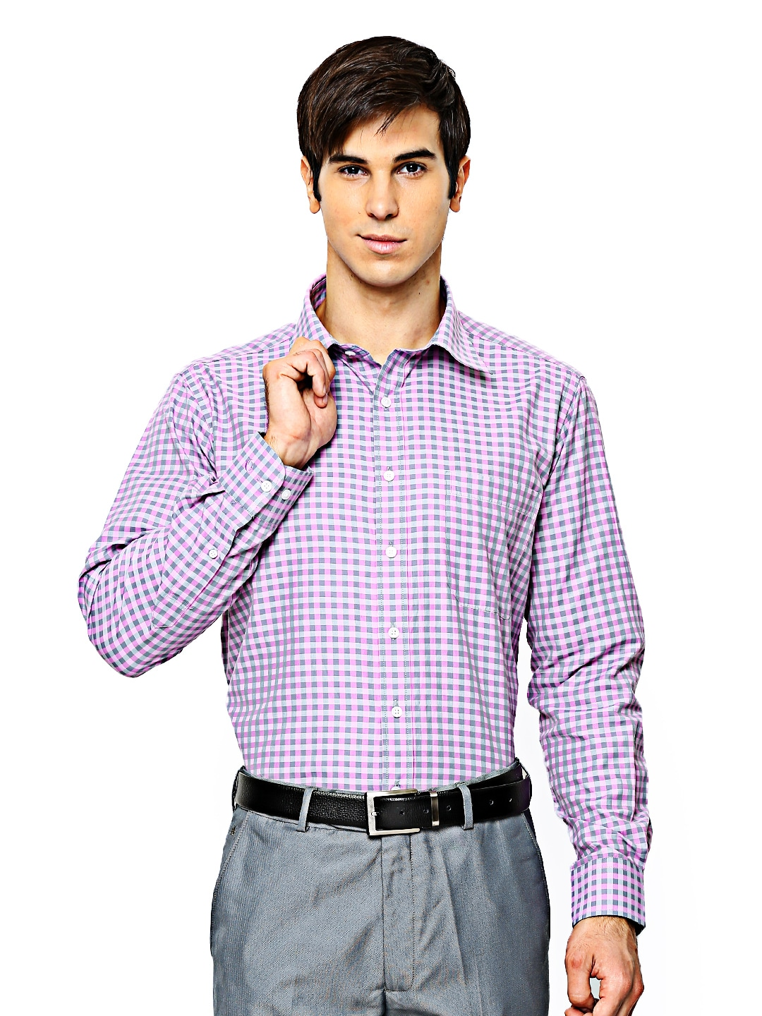 Oxemberg Oxemberg Men Purple & Grey Checked Formal Shirt (Multicolor)