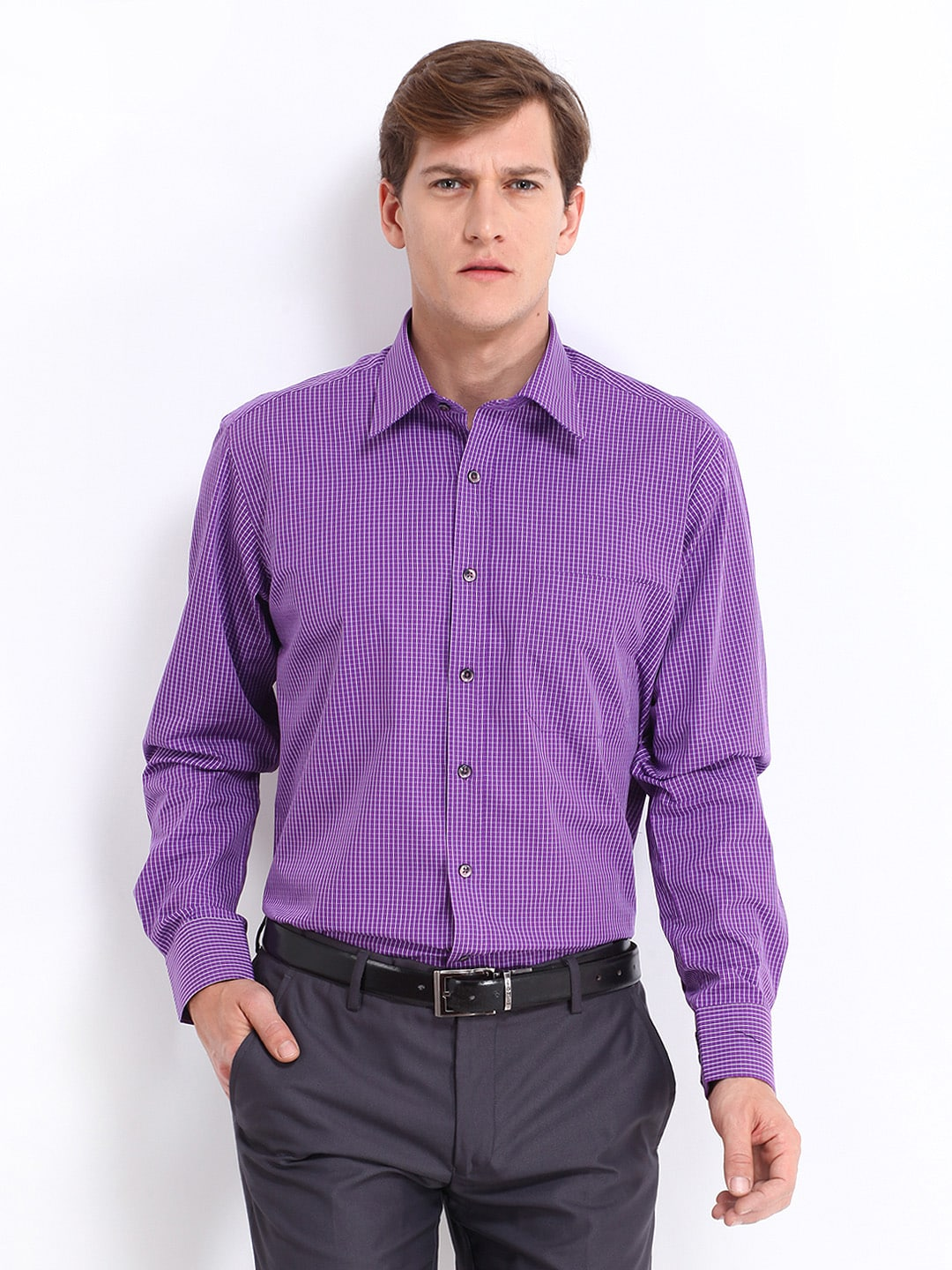 Oxemberg Oxemberg Men Purple & White Checked Slim Fit Formal Shirt (Multicolor)