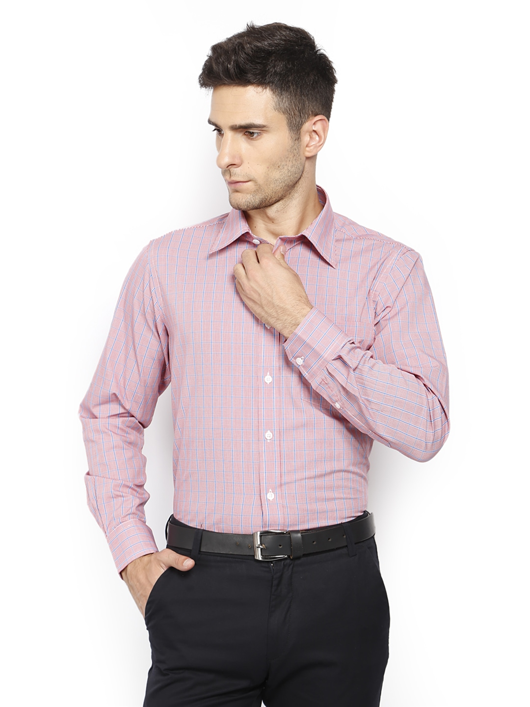 Oxemberg Oxemberg Men Red & Blue Checked Slim Fit Formal Shirt (Multicolor)