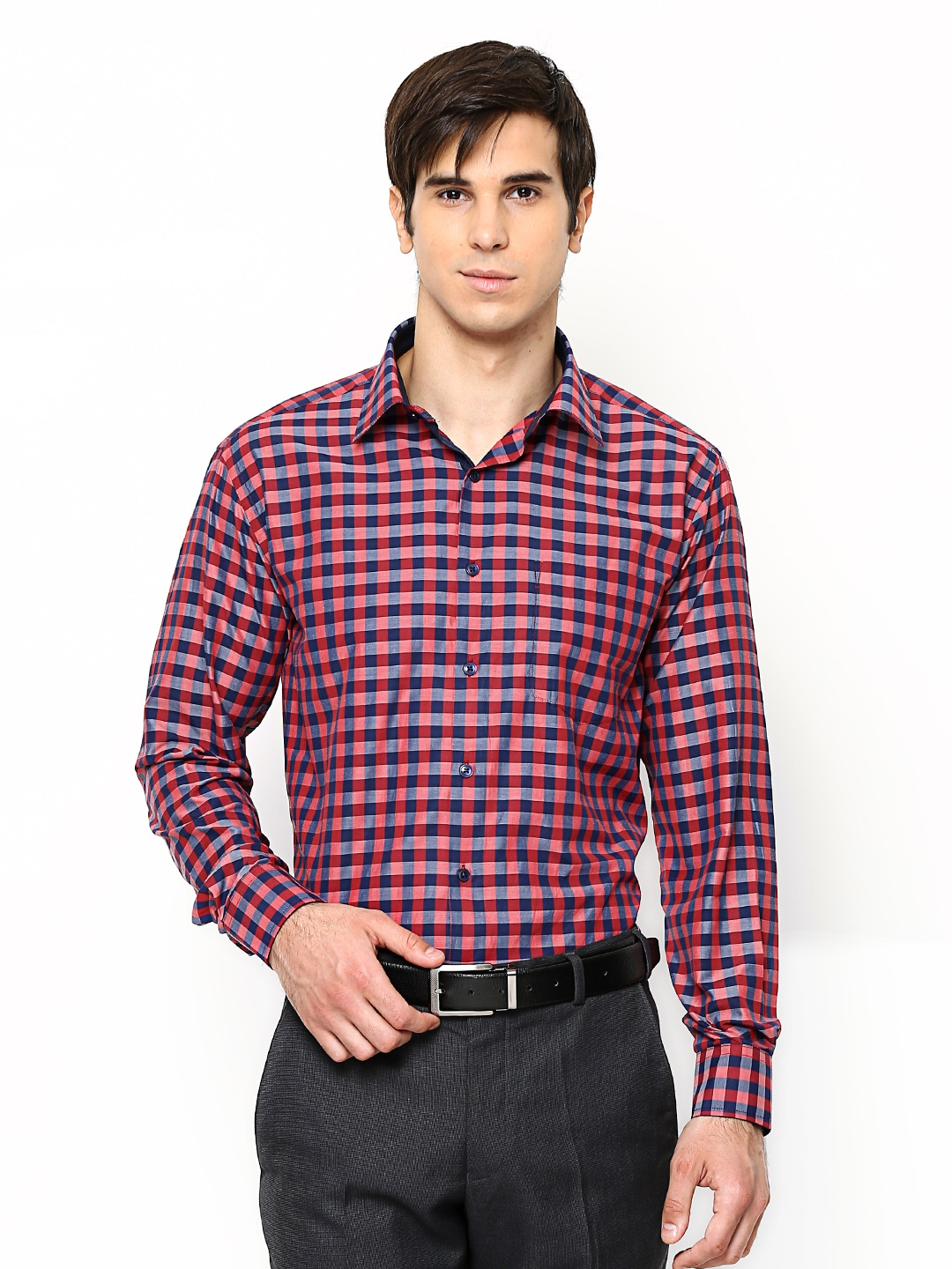 Oxemberg Oxemberg Men Red & Navy Checked Formal Shirt (Multicolor)