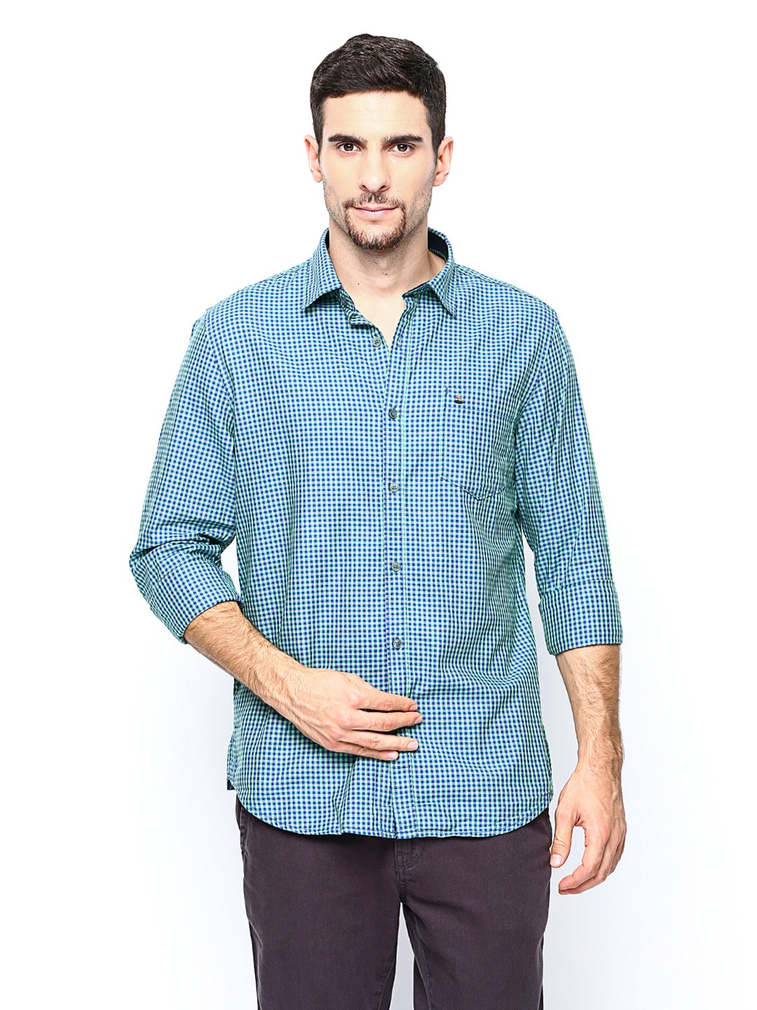 Oxemberg Oxemberg Men Green & Blue Checked Casual Shirt (Multicolor)