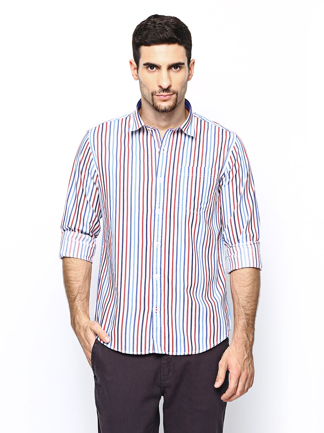 Oxemberg Oxemberg Men White Striped Casual Shirt (Multicolor)