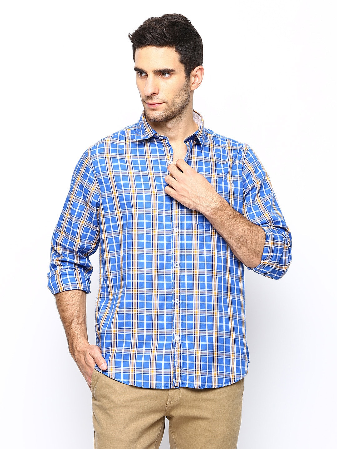 Oxemberg Oxemberg Men Blue Checked Casual Shirt