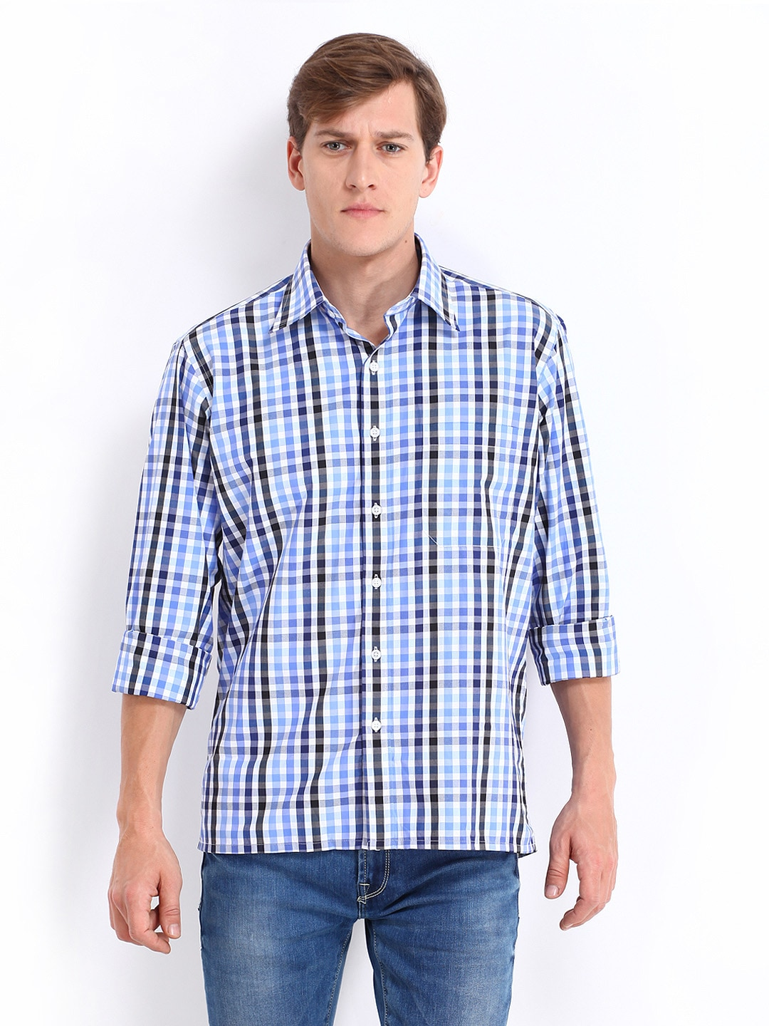 Oxemberg Oxemberg Men White & Blue Checked Casual Shirt (Multicolor)