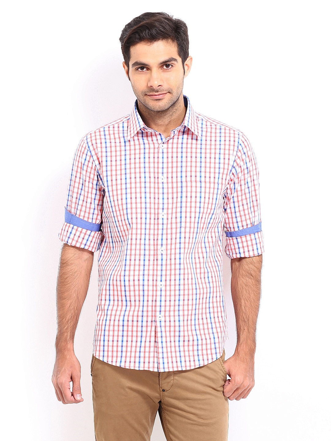 Oxemberg Oxemberg Men White & Red Checked Slim Fit Casual Shirt (Multicolor)