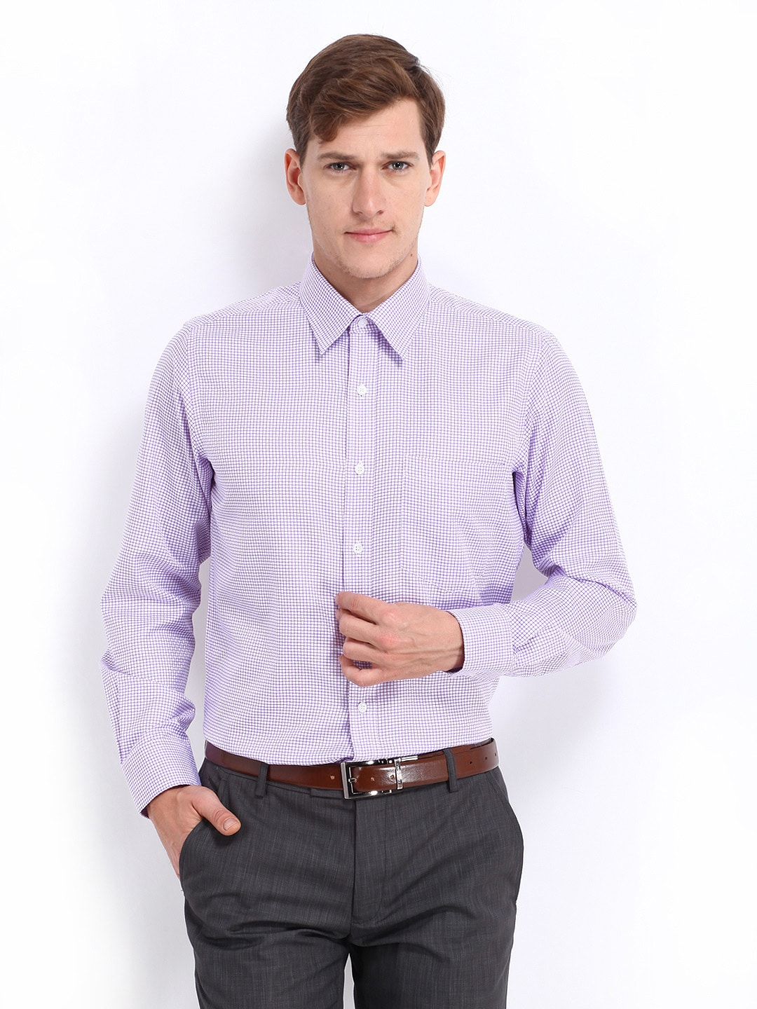 Oxemberg Oxemberg Men White & Purple Checked Slim Fit Formal Shirt (Multicolor)